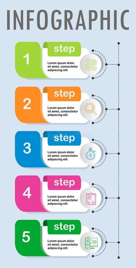 De dunne ontwerpsjabloon van lijn minimale Infographic stock illustratie