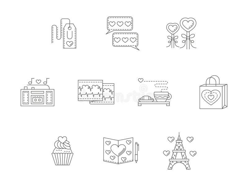 De dunne pictogrammen van het de liefdeverhaal van de lijnstijl stock illustratie