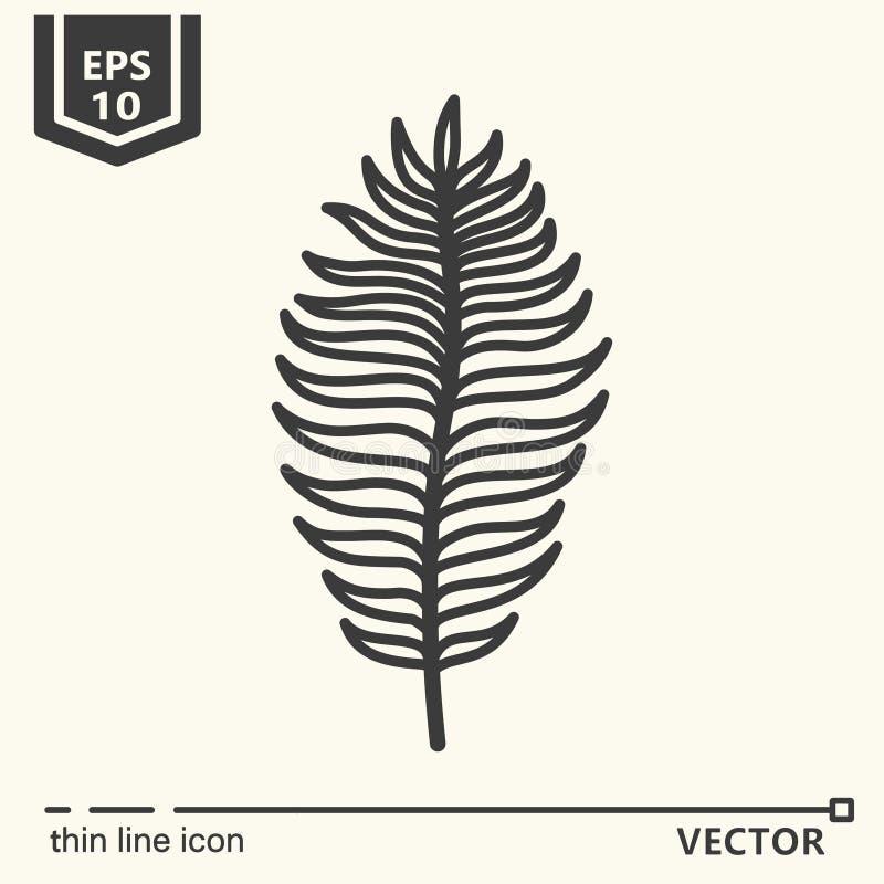 De dunne reeks van het lijnpictogram - tropisch blad stock afbeeldingen