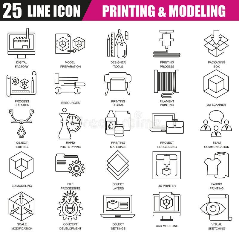 De dunne reeks van lijnpictogrammen van 3D druk en modellering technologie stock illustratie