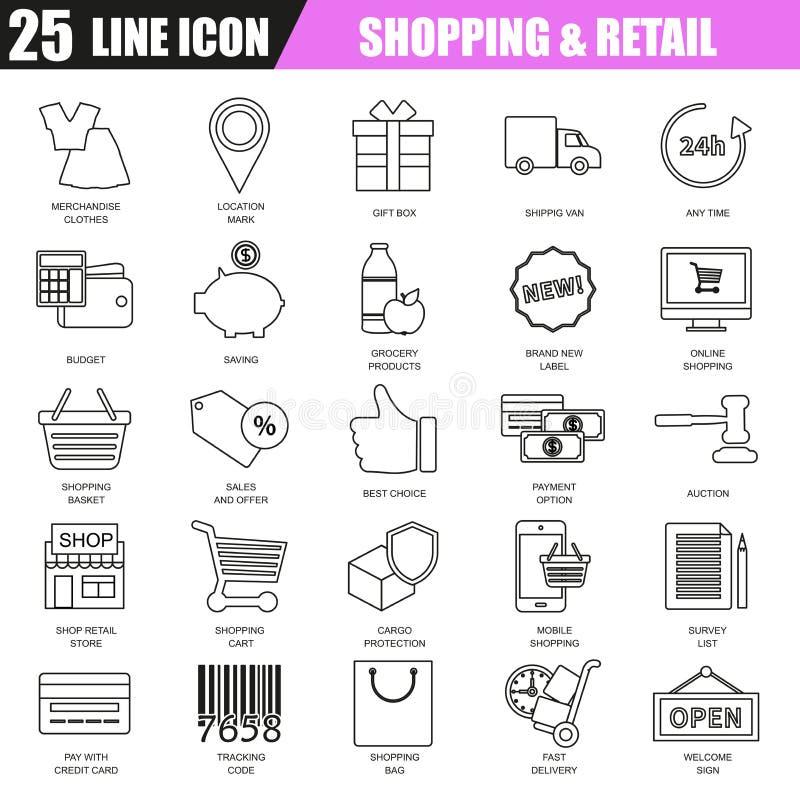 De dunne reeks van lijnpictogrammen van elektronische handel, Internet-het winkelen royalty-vrije illustratie