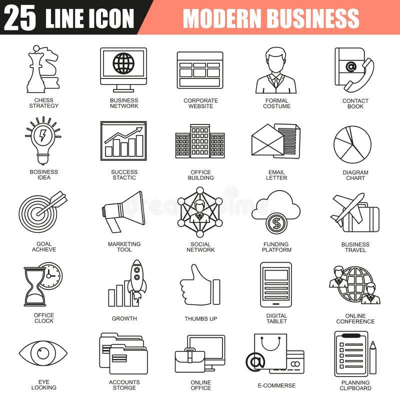 De dunne reeks van lijnpictogrammen van het doen van zaken die marketing technologieideeën gebruiken vector illustratie