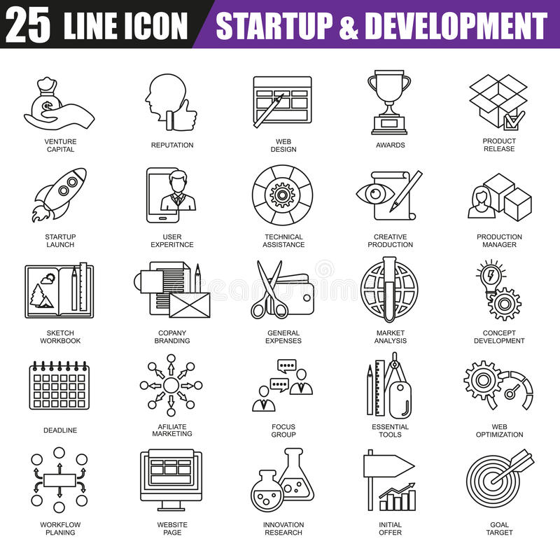 De dunne reeks van lijnpictogrammen van opstarten van bedrijven, marktvisie en opdracht vector illustratie