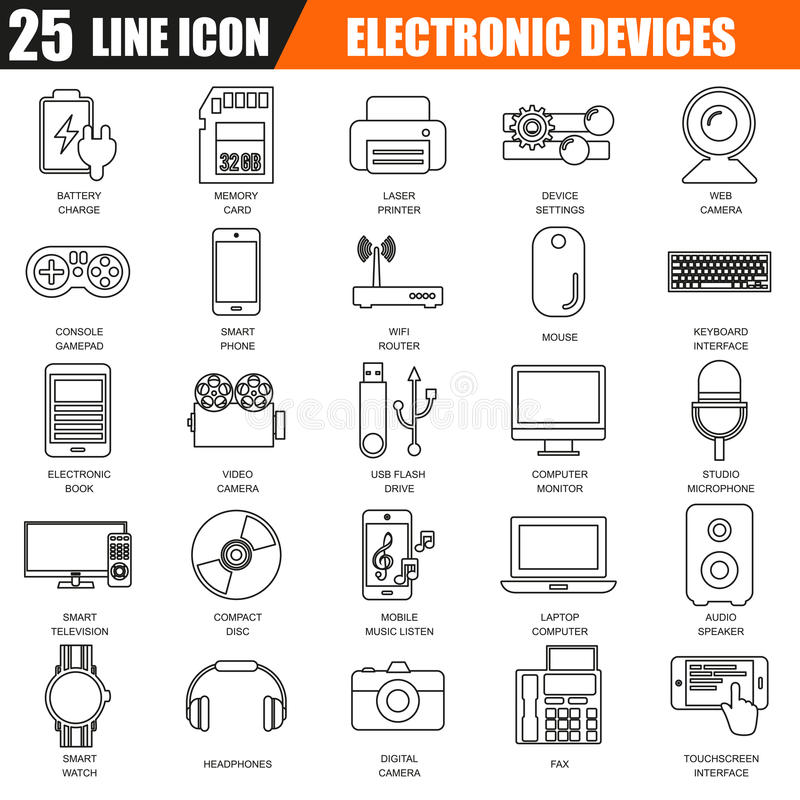 De dunne reeks van lijnpictogrammen van verschillende media apparaten van de computerelektronika en stock illustratie