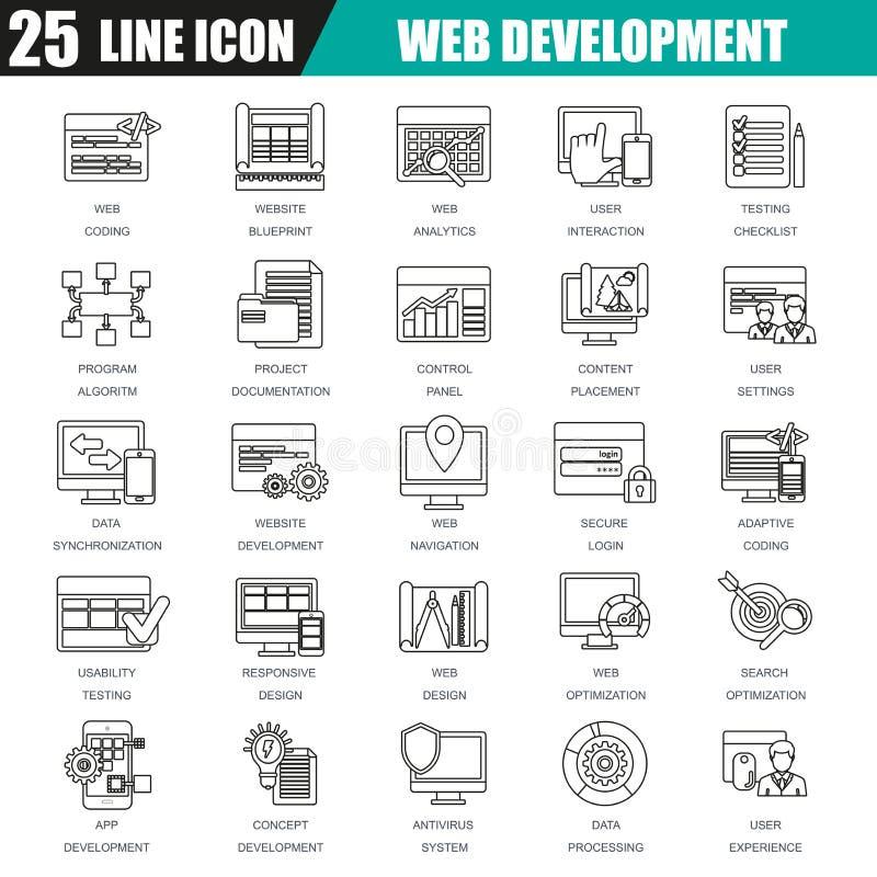 De dunne reeks van lijnpictogrammen van Webontwerp en ontwikkeling, Webcodage vector illustratie