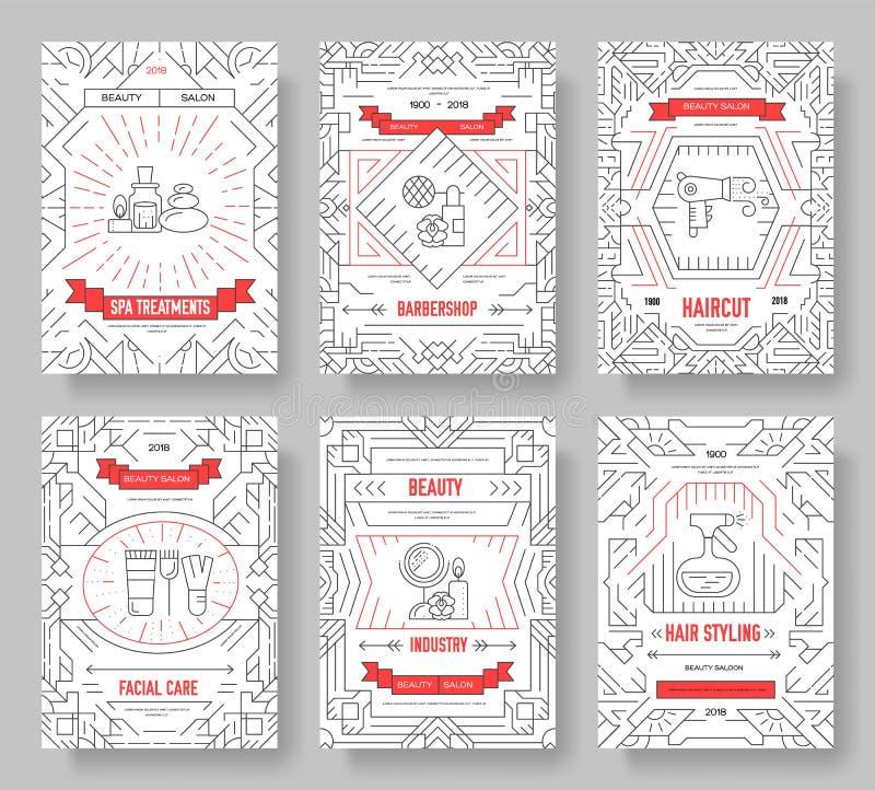 De dunne salon van de lijnschoonheid met geplaatste kaarten van de assortiments de vectorbrochure De kosmetiekmalplaatje van flye stock illustratie
