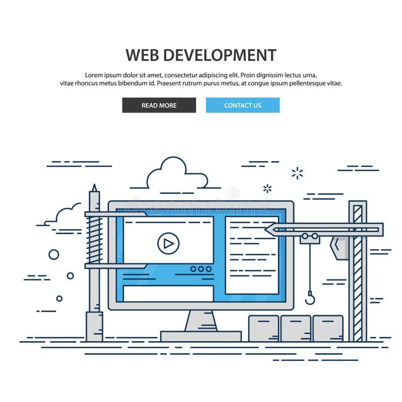 De dunne website van het lijnontwerp in aanbouw Web-pagina de bouwproces vector illustratie
