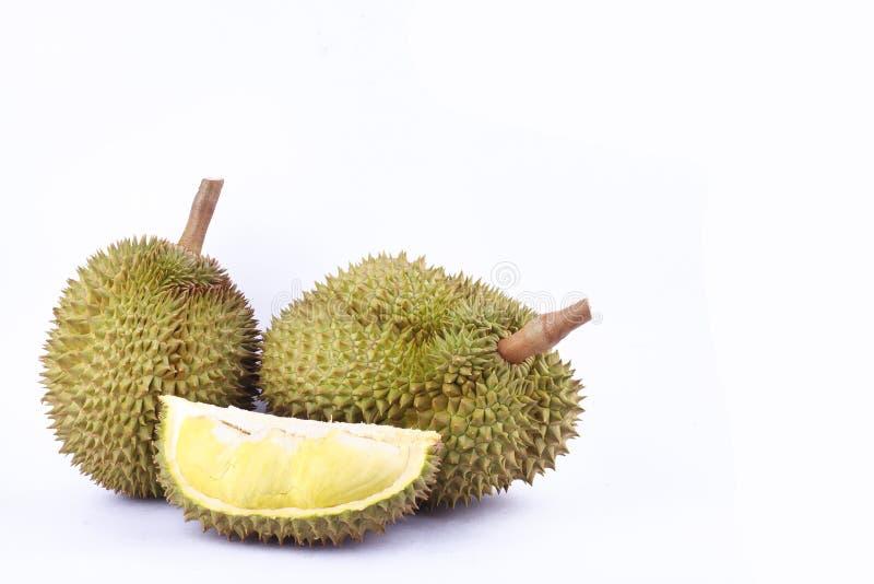 De Durian mon leren riem is koning van vruchten durian op witte dichte omhooggaand van het achtergrond gezonde gele durian fruitv royalty-vrije stock afbeeldingen