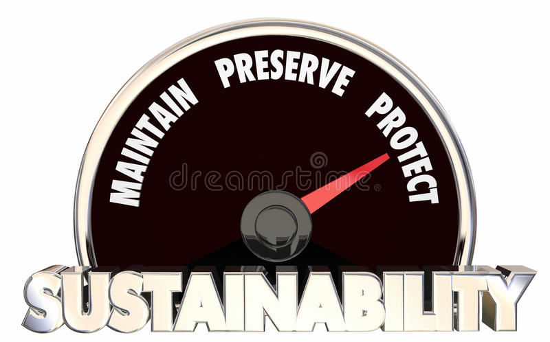 De duurzaamheid handhaaft het Domein Maatregelenresultaten 3d Illu beschermt stock illustratie