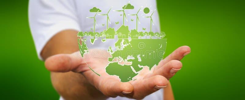 De duurzame energieschets van de zakenmanholding royalty-vrije illustratie