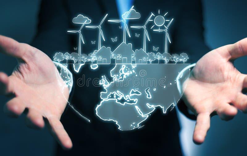 De duurzame energieschets van de zakenmanholding vector illustratie