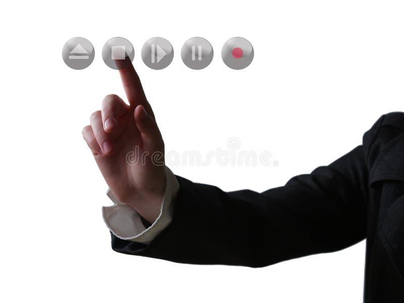 De duwende knoop van de hand stock afbeelding