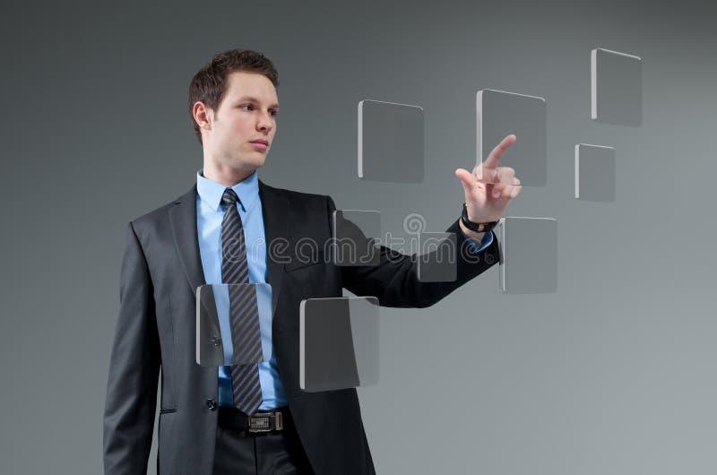 Toekomstige technologie wat betreft de inzameling van de het scherminterface. stock foto