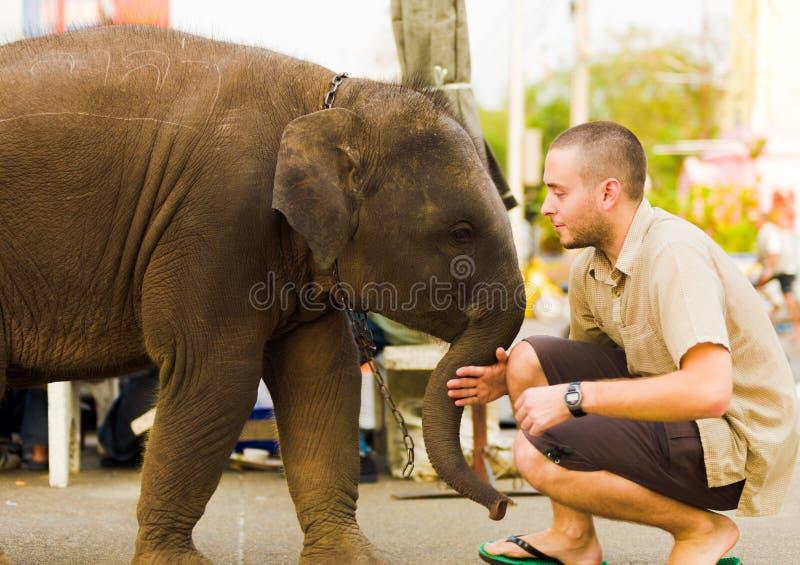 De Duwende Toerist Bangkok Van de binnenstad van de Olifant van de baby royalty-vrije stock fotografie