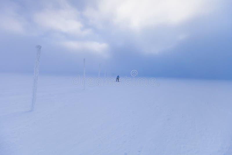 De dwarsskiër die van het land in winderig weer ski?en stock fotografie