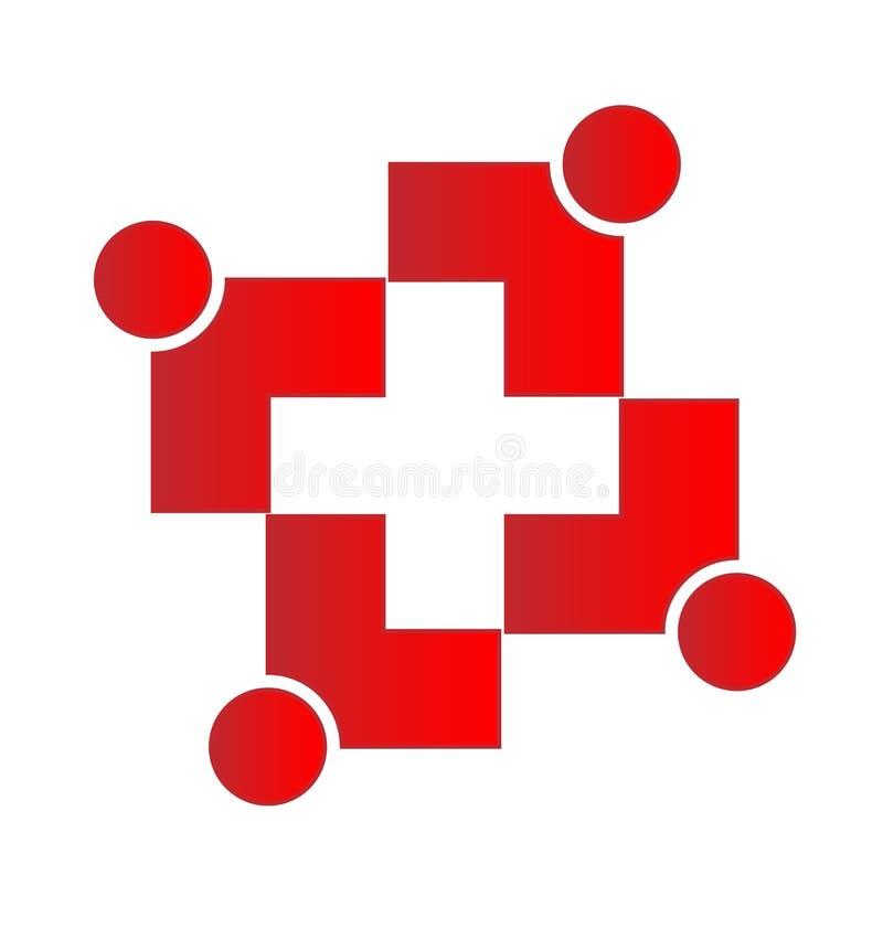 De dwarsvorm van groepswerkmensen vector illustratie