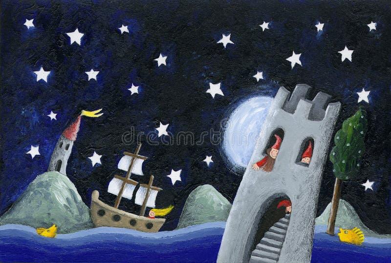 De dwergen landen - kasteel in de nacht vector illustratie