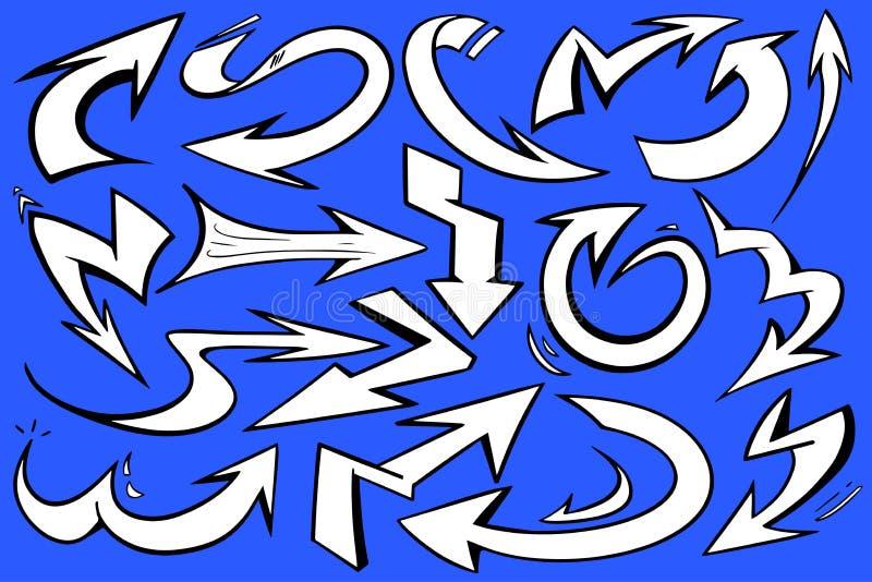 De dynamische vectorafbeeldingen van de stijl witte pijl met gewaagd zwart overzicht en blauwe achtergrond royalty-vrije stock afbeelding