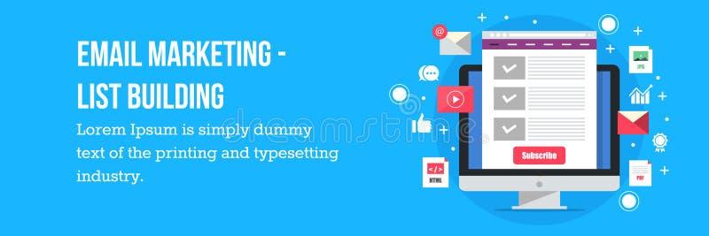 De e-maillijstbouw - e-mail marketing concept royalty-vrije illustratie