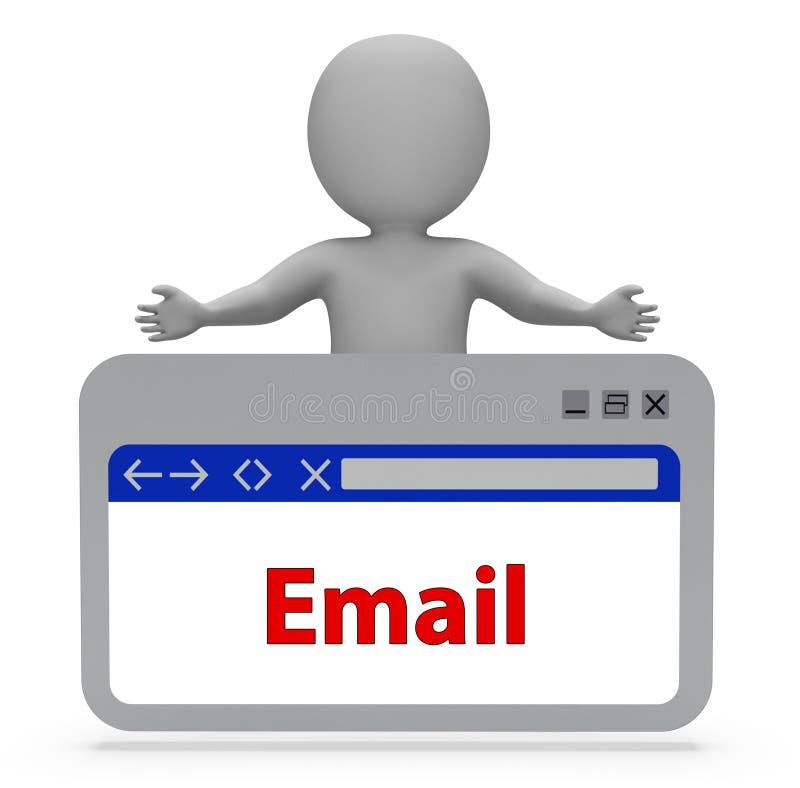 De e-mailwebpagina vertegenwoordigt Postpost en correspondeert het 3d Teruggeven royalty-vrije illustratie