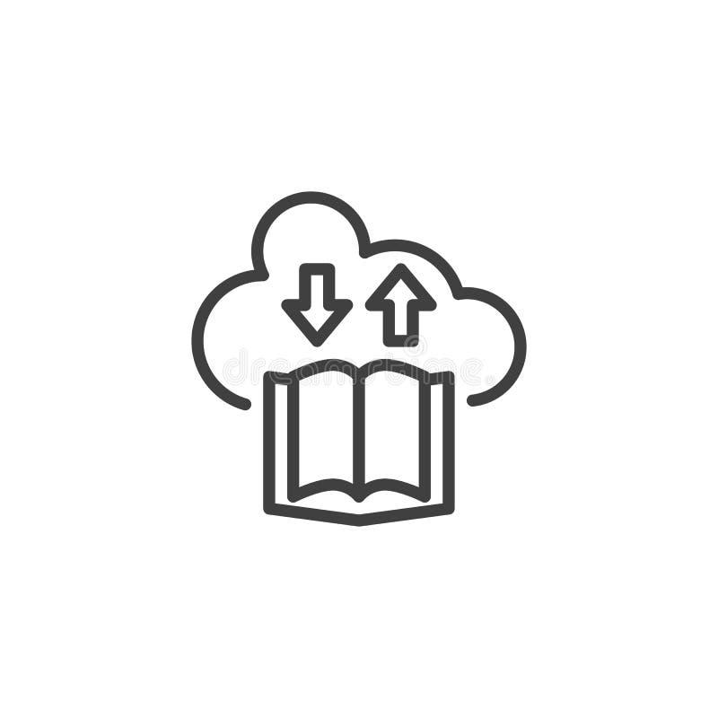 De EBookdownload en uploadt lijnpictogram vector illustratie