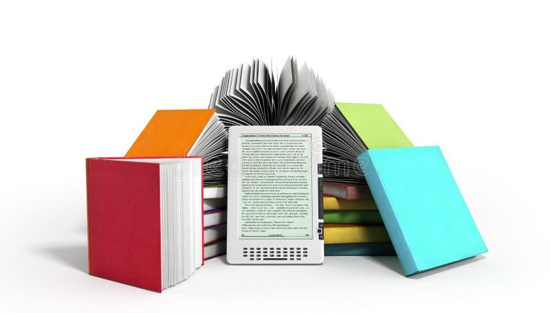 De EBooklezer Books en 3d de tablet geven beeld op wit terug stock illustratie