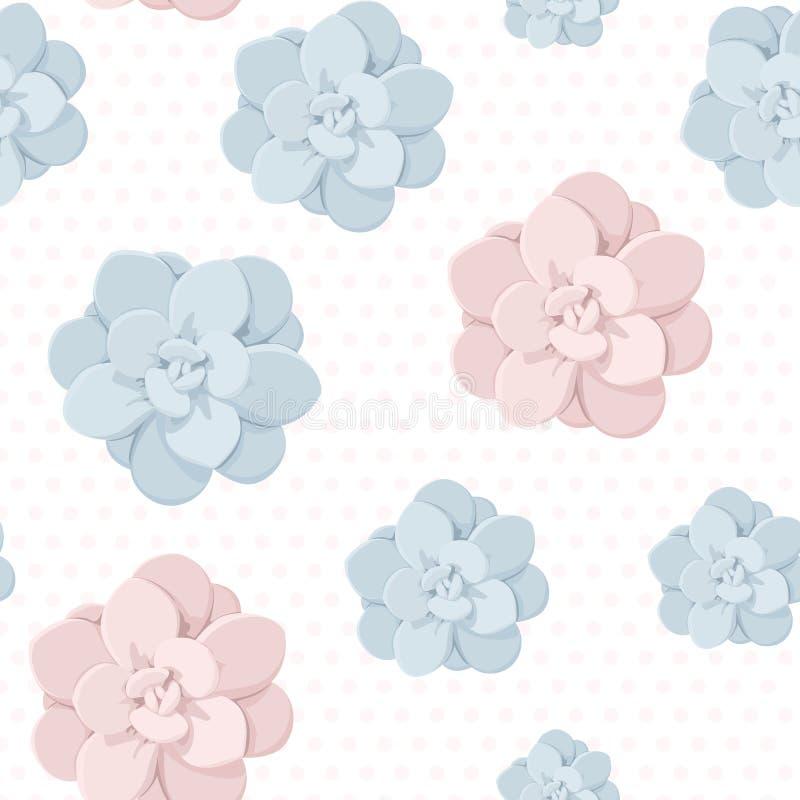 De Echeveriasteen nam het succulente naadloze patroon van de bloeminstallatie toe Blauwe roze pastelkleuren op stipachtergrond royalty-vrije illustratie