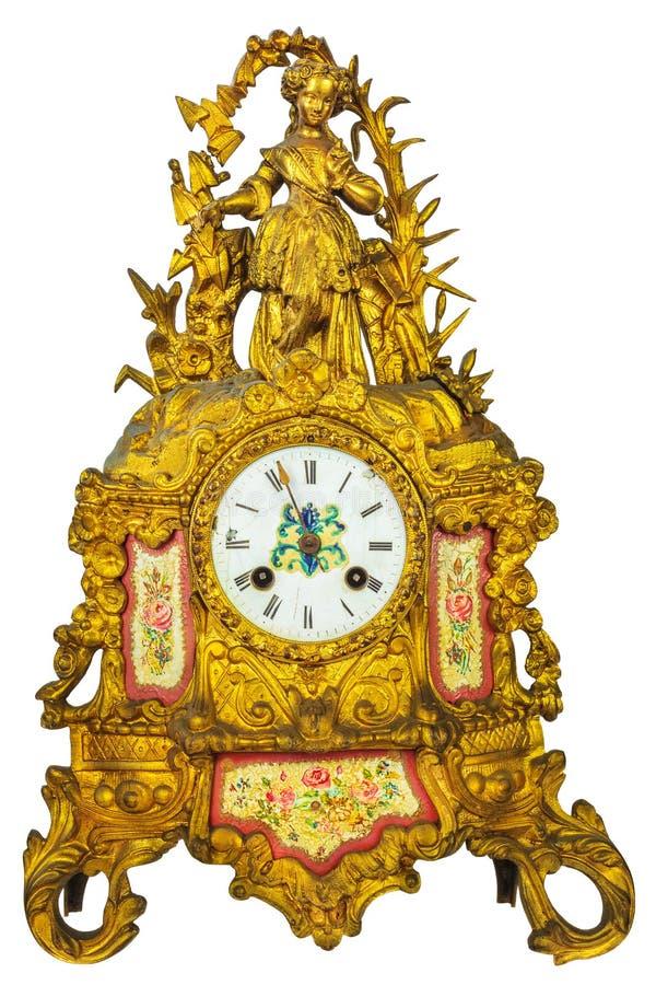 De echte klok van de de 18de eeuw gouden lijst stock afbeeldingen