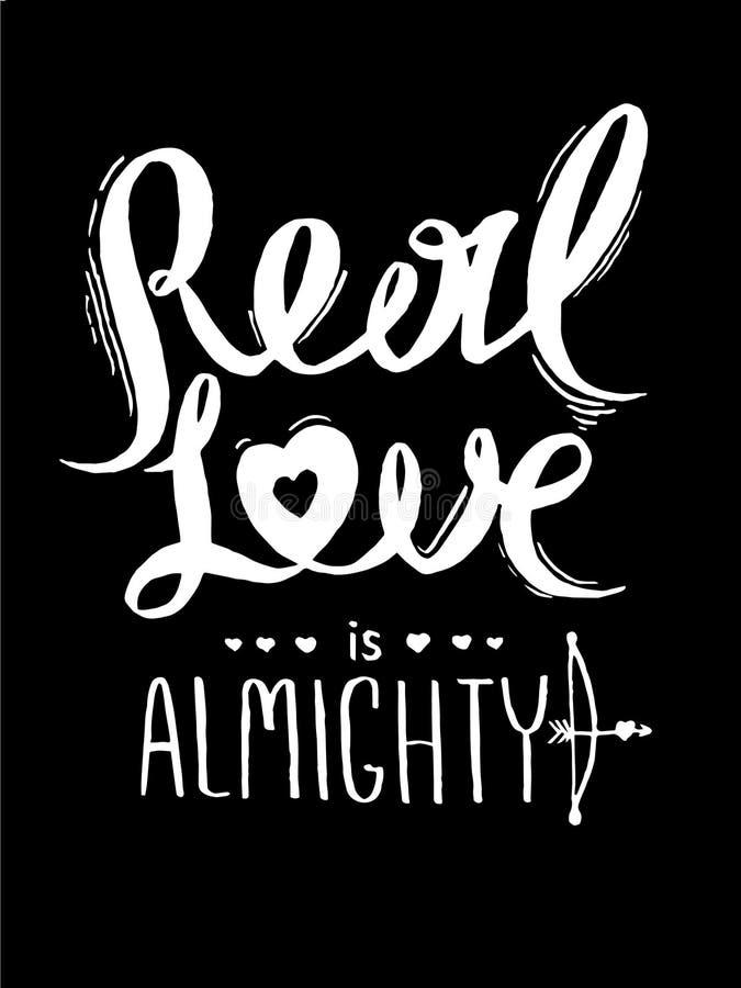 De echte liefde is almachtig Romantische affiche voor de Dag van Valentine royalty-vrije illustratie