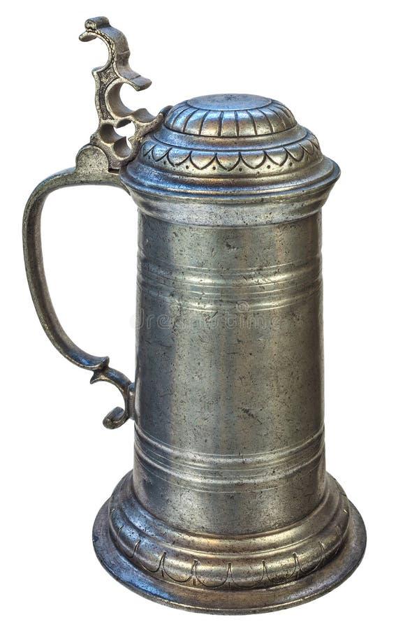 De echte middeleeuwse kruik van het tinbier royalty-vrije stock afbeelding