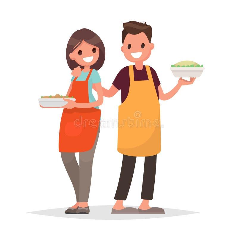 De echtgenoot en de vrouw treffen samen op geïsoleerd voorbereidingen backgroun stock illustratie