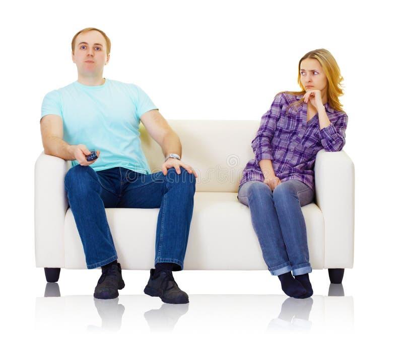 De echtgenoot en de vrouw vinden geen wederzijds begrip stock foto's