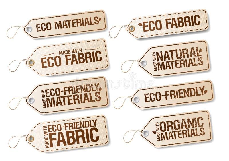 De Eco, organische en natuurlijke materialen etiketteert inzameling, reeks stickers voor eco vriendschappelijke stof vector illustratie