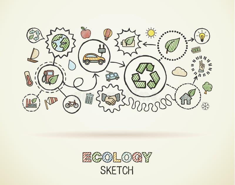 De ecologiehand trekt geïntegreerde pictogrammen vector illustratie