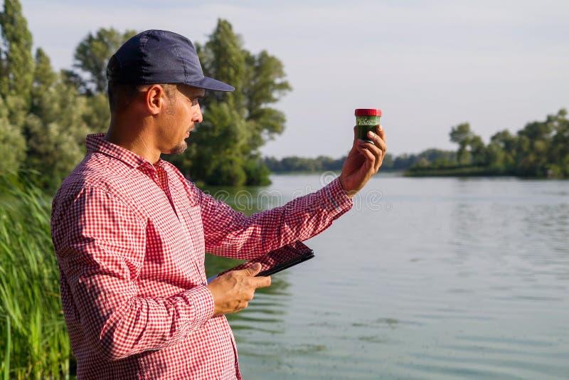 De ecologist op rivierbank onderzoekt container met groene algen en houdt tablet stock afbeeldingen