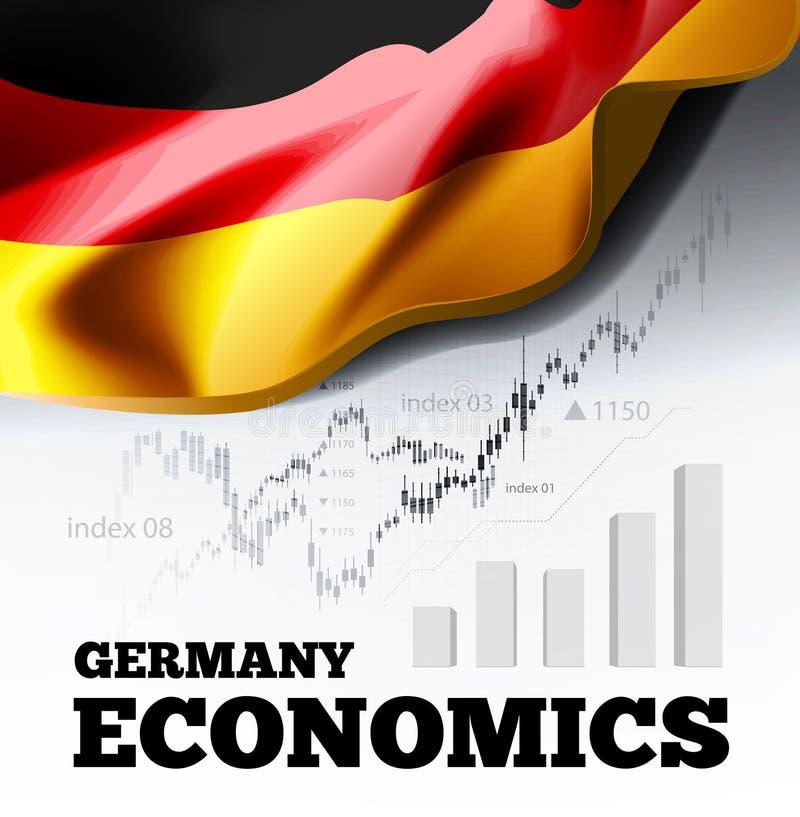 De economie vectorillustratie van Duitsland met Duitse vlag en bedrijfsgrafiek, de aantallenoplopende markt van de grafiekvoorraa stock illustratie