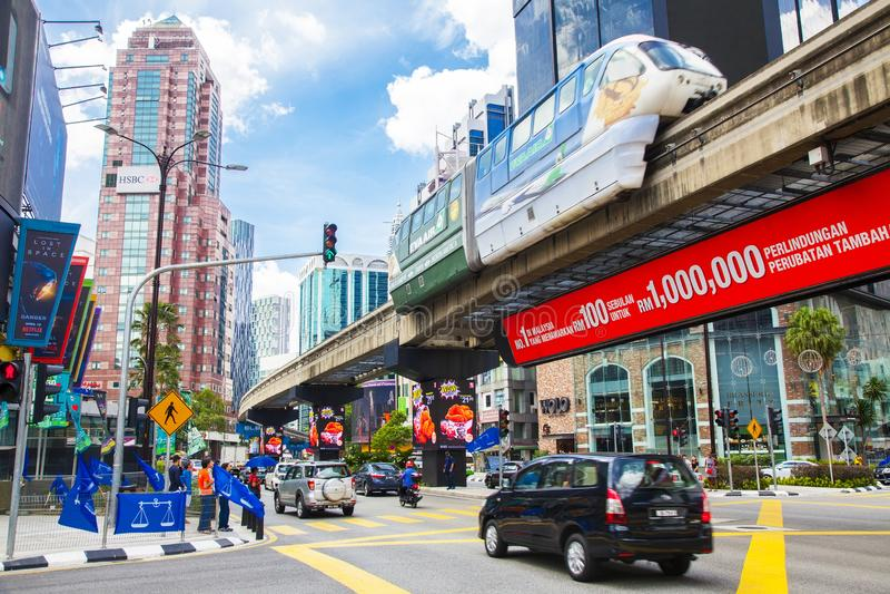 De economische sector van Bukitbintang in Kuala Lumpur stock afbeelding