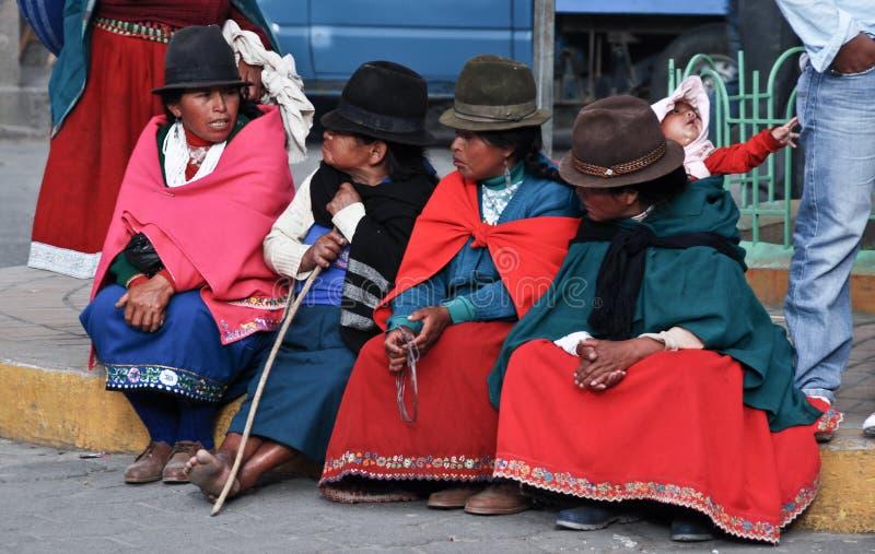 De Ecuatoriaanse vrouwen van de armoede stock afbeelding