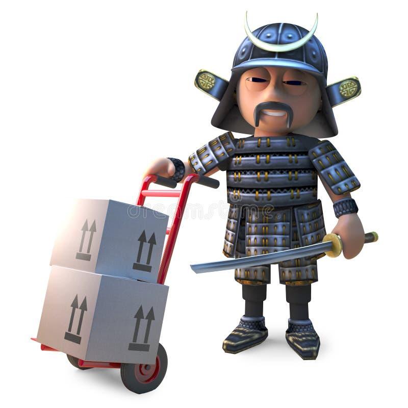 De edele Japanse samoeraienstrijder levert kartondozen met zijn stootkar, 3d illustratie stock illustratie