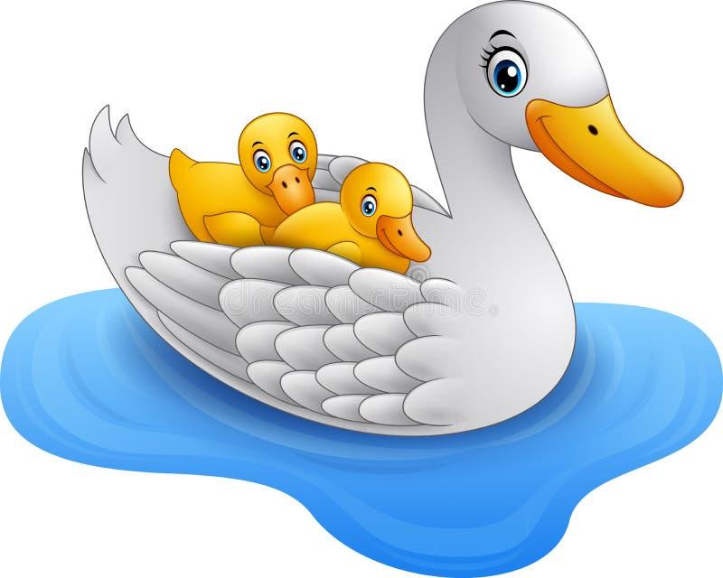 De eend van de beeldverhaalmoeder met de vlotters van de babyeend op water royalty-vrije illustratie