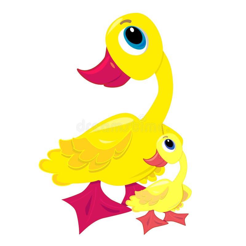 De eend van de baby met moederillustratie vector illustratie
