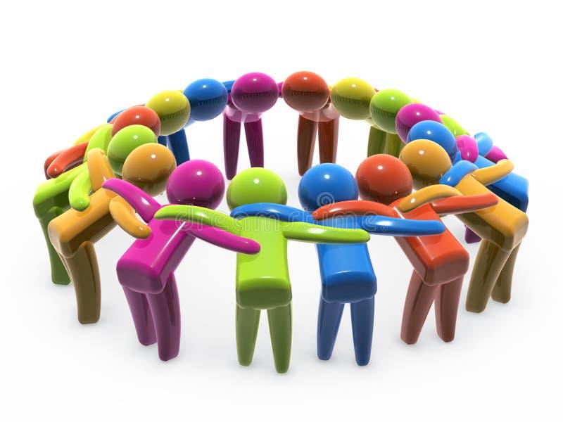 De eenheid en de samenwerking van het team royalty-vrije illustratie