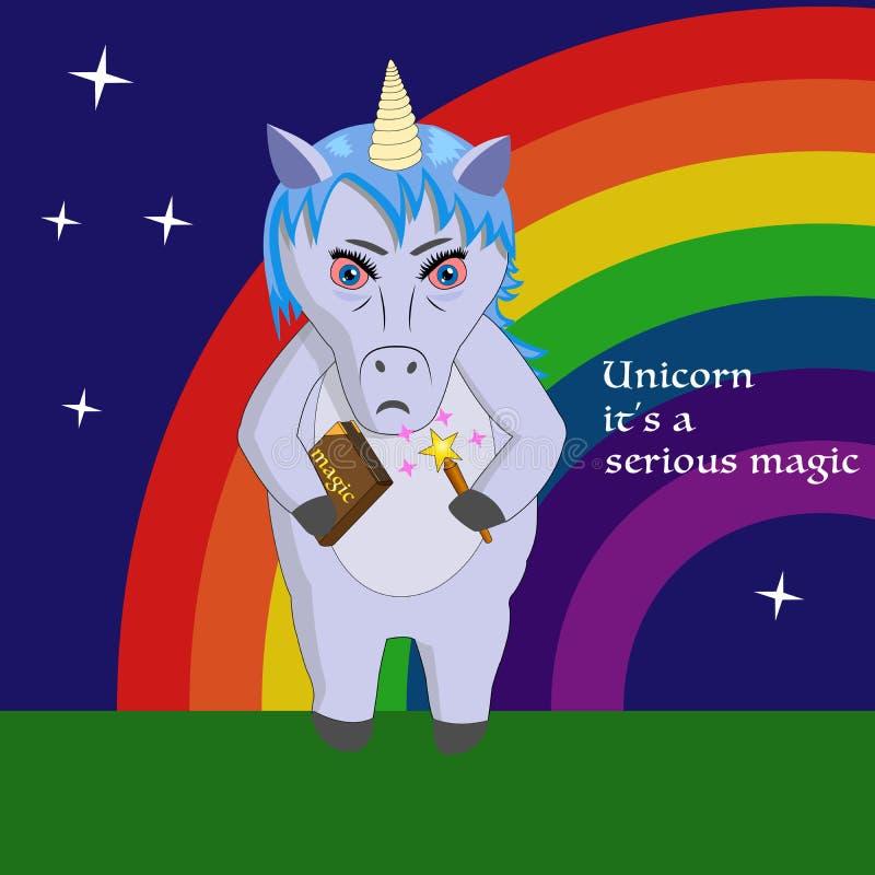 De eenhoorn is ernstige magisch - beeldverhaal vectorillustratie stock illustratie