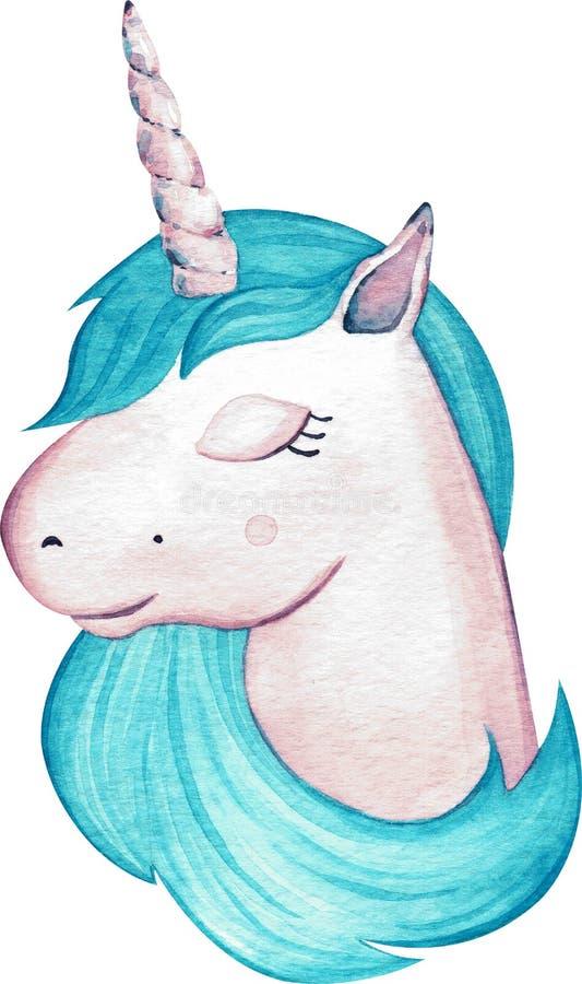 De eenhoornhoofd van het waterverf leuk meisje met blauw die haar op witte achtergrond wordt ge?soleerd Het gezicht van Hand-draw vector illustratie