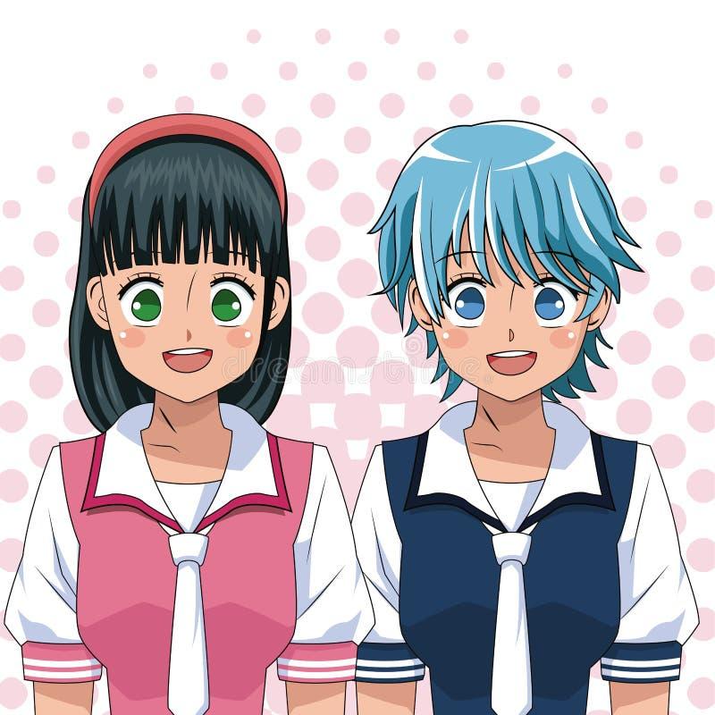 De eenvormige universiteit Japanner van Animemeisjes stock illustratie