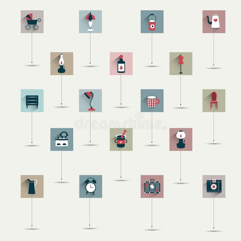 De eenvoudig minimalistic vlakke retro reeks van het symboolpictogram. vector illustratie