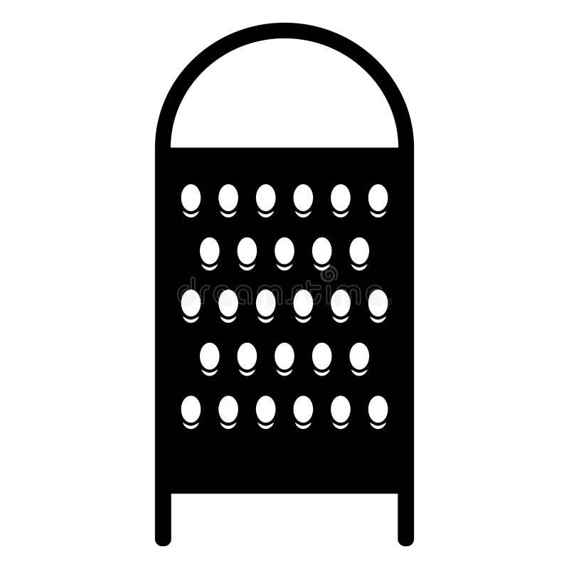 De eenvoudig, vlak, zwart illustratie van de kaasrasp/silhouet Geïsoleerd op wit royalty-vrije illustratie