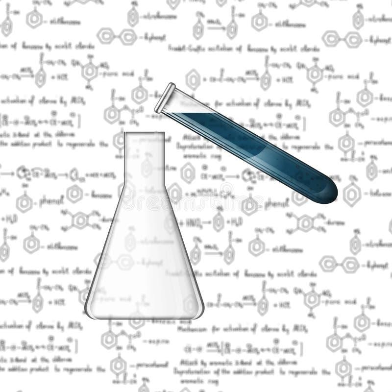 De eenvoudige chemische ervaring met blured formules vector illustratie