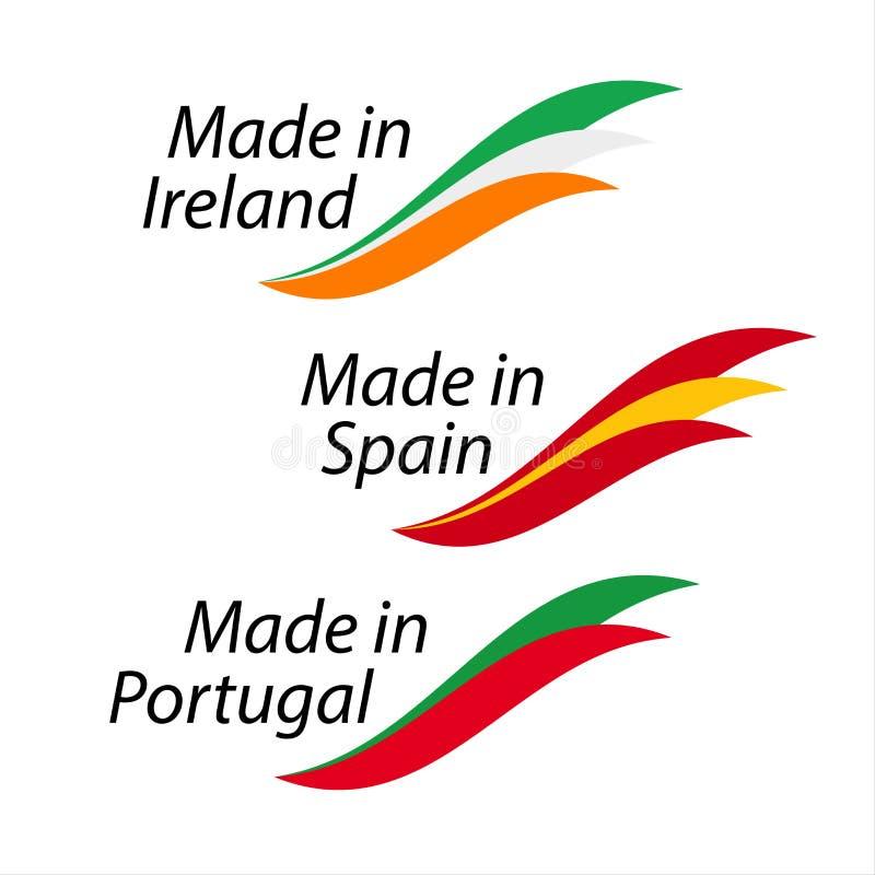 De eenvoudige die emblemen maakten in Ierland, in Spanje wordt gemaakt, in Portugal wordt gemaakt royalty-vrije illustratie