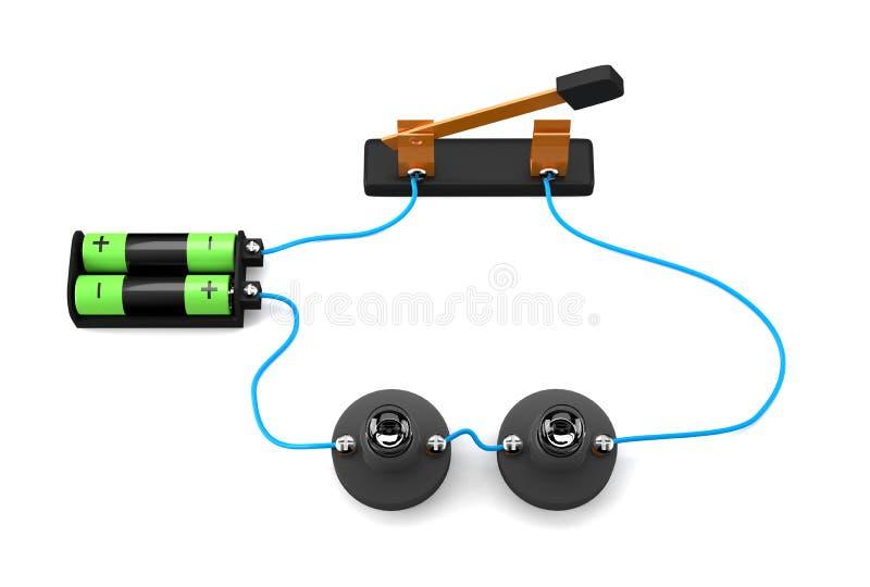 De eenvoudige elektrische verbinding van de kringsreeks op witte achtergrond